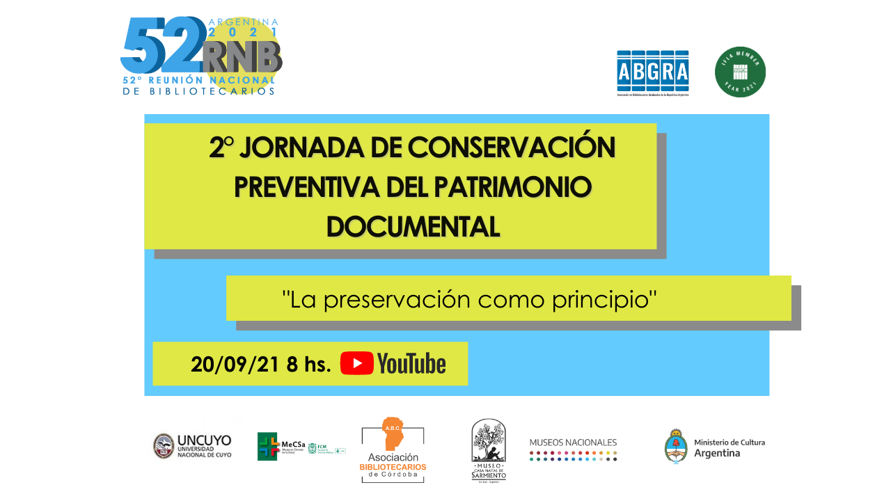 52 RNB. 2° Jornada de Conservación Preventiva del Patrimonio Documental en Bibliotecas.